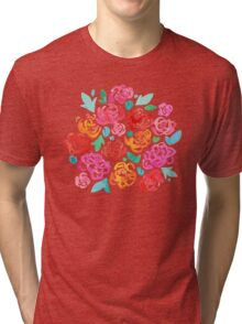 Peony & Roses on White Tri-blend T-Shirt