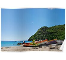Fishermen Boats on the Beach of Anse d'Arlet - Martinique, F.W.I. Poster