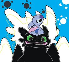 Stitch and Toothless by NefariousBear
