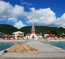 Church of Anse d'Arlet from the Quay 2 - Martinique, F.W.I. by Olivia Son