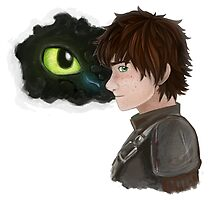 Hiccup and Toothless by purifiedshadows