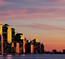 Downtown Sunset over New York City, NYC by upthebanner