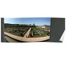 Chateau overlooking gardens Poster