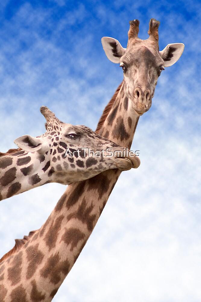 """Necking"" - giraffes showing affection by ArtThatSmiles"