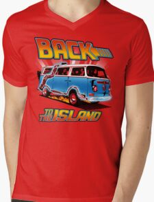 Back to the Island Lost And Back to the Future Spoof Mens V-Neck T-Shirt