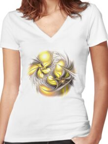 Happy Yellow Women's Fitted V-Neck T-Shirt