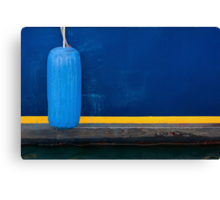Part of Blue Boat with Yellow Stripe and Light Blue Buffer Canvas Print