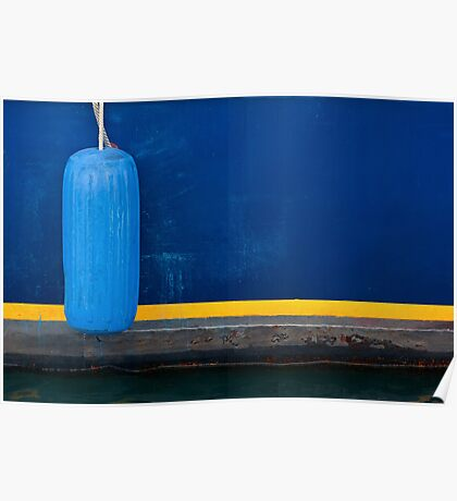Part of Blue Boat with Yellow Stripe and Light Blue Buffer Poster