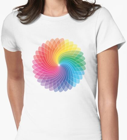 Colour Wheel Flower Womens Fitted T-Shirt