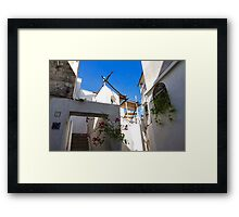 Whitewashed Mediterranean Beauty at Number 17 Framed Print