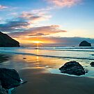 Trebarwith Strand Winter Sunset by David Wilkins
