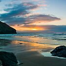 Trebarwith Winter Sunset Panorama by David Wilkins