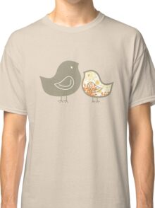 Yellow Damask Sweet Mommy and Baby Chicks Classic T-Shirt