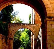 Outside the walls of the Alhambra fortresss in Granada by sceneryphotosto