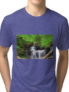 Emerald Trees Surround R. B. Ricketts Falls Tri-blend T-Shirt