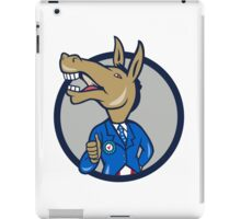 Democrat Donkey Mascot Thumbs Up Circle Cartoon iPad Case/Skin