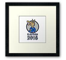 Election 2016 Democrat Donkey Mascot Circle Cartoon Framed Print