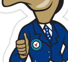 Democrat Donkey Mascot Thumbs Up Cartoon Sticker