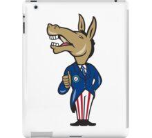 Democrat Donkey Mascot Thumbs Up Cartoon iPad Case/Skin