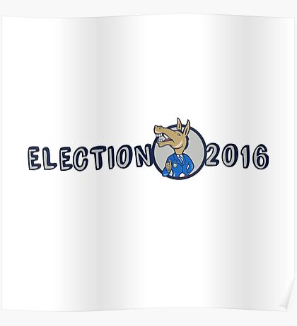 Election 2016 Democrat Donkey Mascot Cartoon Poster