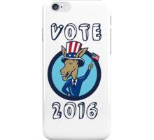 Vote 2016 Democrat Donkey Mascot Flag Circle Cartoon iPhone Case/Skin