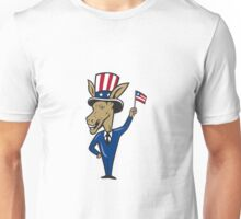 Democrat Donkey Mascot Waving Flag Cartoon Unisex T-Shirt