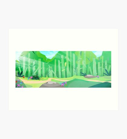 green hills with forest view Art Print