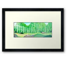 green hills with forest view Framed Print