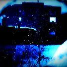 Blue snow through my window screen by ShellyKay