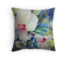 White Hybiscus Throw Pillow