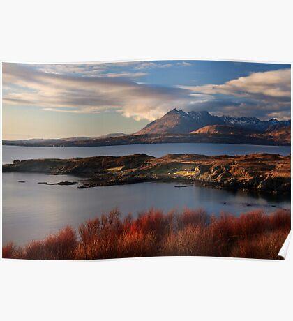Cuillin Mountains from Tarskavaig, Isle of Skye, Scotland. Poster