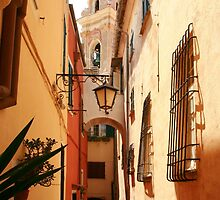 Narrow street leading to the church Cervo Italy by Paul Pasco