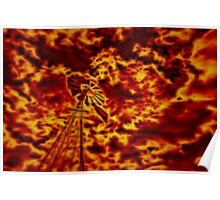 Windmill With Burning Sky Poster