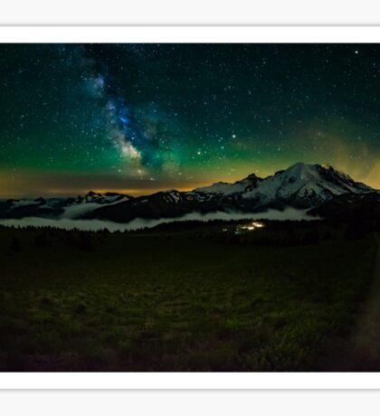 Mt Rainier and Milky way Sticker