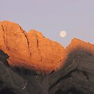 sunrise moon set, canmore canada by Jeannine de Wet