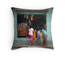 Getting some candy Throw Pillow