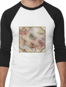 Victorian Blossoms with Butterfly Men's Baseball ¾ T-Shirt