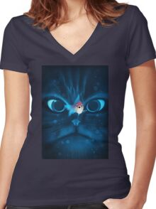 Cat Fish Women's Fitted V-Neck T-Shirt