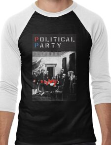 Political Party! shirt (and other items available too) - Choose shirt style/color! (tshirt with red solo solos, shades, beer pong)  Men's Baseball ¾ T-Shirt