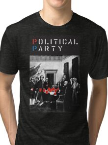 Political Party! shirt (and other items available too) - Choose shirt style/color! (tshirt with red solo solos, shades, beer pong)  Tri-blend T-Shirt