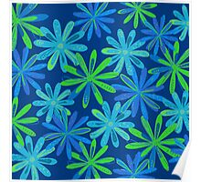 Blue and Green Floral Design Poster