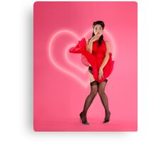 Valentine's Pinup - Red Dress Canvas Print