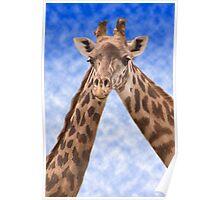 """Two Necks Are Better Than One"" - giraffes Poster"