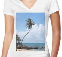 palm tree on the beach Women's Fitted V-Neck T-Shirt