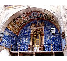 Ornate Tiled Facade - Obidos, Portugal Photographic Print