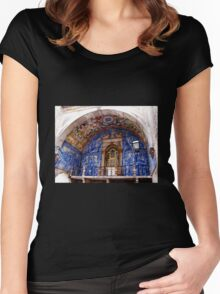 Ornate Tiled Facade - Obidos, Portugal Women's Fitted Scoop T-Shirt