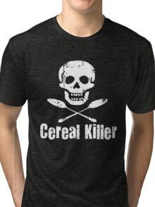 Cereal Killer Funny Biker Tattoo Skull Tri-blend T-Shirt