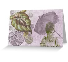 Lavender Purple Steam Punk Gears Parasol Greeting Card