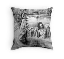 Waiting for Night in the Garden of Dreams Throw Pillow