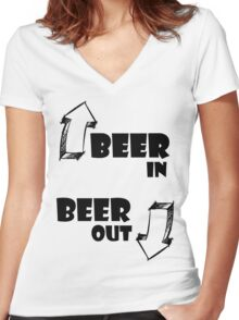 Beer In, Beer Out Women's Fitted V-Neck T-Shirt